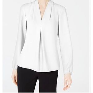 NWT Bar III Inverted-Pleat Blouse White Size M